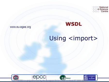 EGEE is a project funded by the European Union under contract IST-2003-508833 WSDL Using www.eu-egee.org.