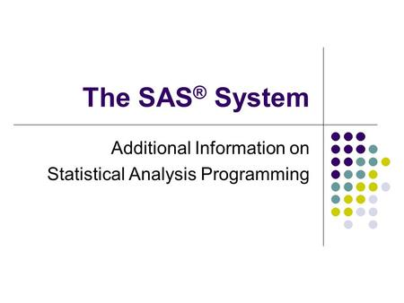 The SAS ® System Additional Information on Statistical Analysis Programming.