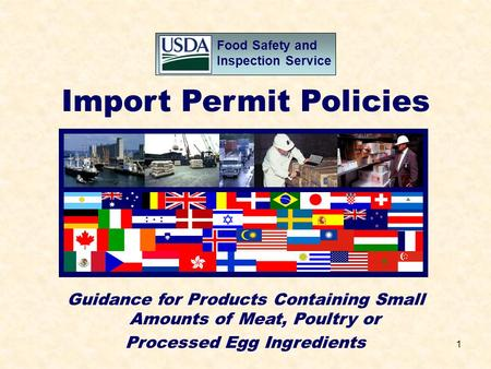 1 Food Safety and Inspection Service Import Permit Policies Guidance for Products Containing Small Amounts of Meat, Poultry or Processed Egg Ingredients.