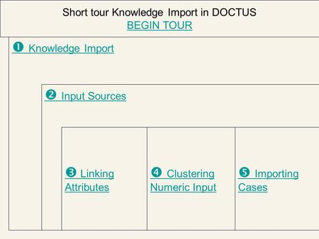  Knowledge Import  Input Sources  Linking Attributes  Importing Cases Short tour Knowledge Import in DOCTUS BEGIN TOUR  Clustering Numeric Input.