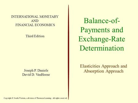 Balance-of- Payments and Exchange-Rate Determination Elasticities Approach and Absorption Approach INTERNATIONAL MONETARY AND FINANCIAL ECONOMICS Third.