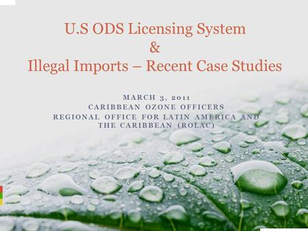 MARCH 3, 2011 CARIBBEAN OZONE OFFICERS REGIONAL OFFICE FOR LATIN AMERICA AND THE CARIBBEAN (ROLAC) U.S ODS Licensing System & Illegal Imports – Recent.