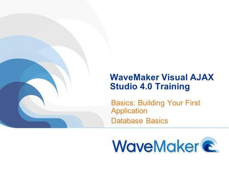 WaveMaker Visual AJAX Studio 4.0 Training Basics: Building Your First Application Database Basics.
