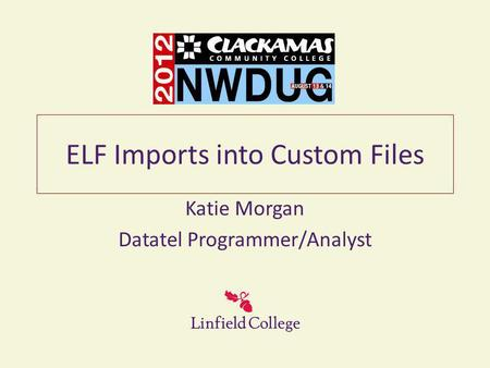 ELF Imports into Custom Files Katie Morgan Datatel Programmer/Analyst.