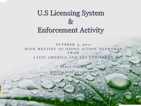 OCTOBER 5, 2011 MAIN MEETING OF OZONE ACTION NETWORKS FROM LATIN AMERICA AND THE CARIBBEAN Staci Gatica U.S Licensing System & Enforcement.