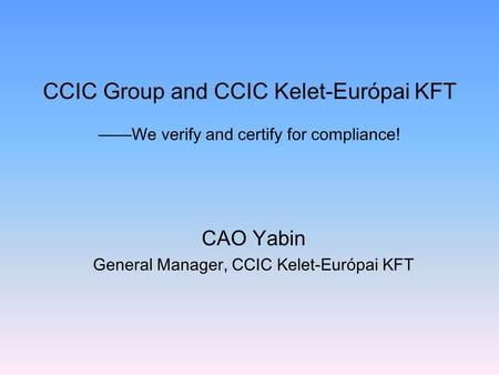 CAO Yabin General Manager, CCIC Kelet-Európai KFT