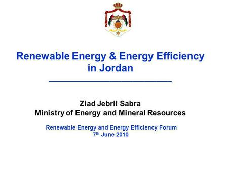 Renewable Energy & Energy Efficiency in Jordan