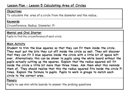 Lesson Plan – Lesosn 5 Calculating Area of Circles