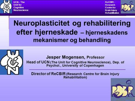 CHALLENGING THE CONCEPTS OF LOCALIZATION AND RECOVERY OF BRAIN FUNCTION ReCBIR – Research Centre for Brain Injury Rehabilitation UCN - The Unit for Cognitive.