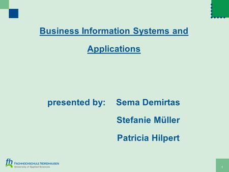 1 Business Information Systems and Applications presented by:Sema Demirtas Stefanie Müller Patricia Hilpert.