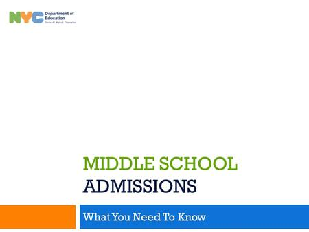 Middle School Admissions