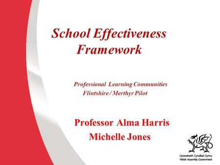 School Effectiveness Framework Professional Learning Communities Flintshire / Merthyr Pilot Professor Alma Harris Michelle Jones.
