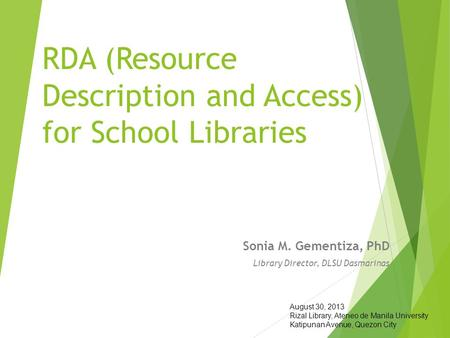 RDA (Resource Description and Access) for School Libraries