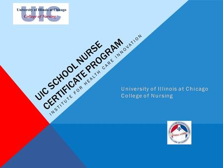 UIC SCHOOL NURSE CERTIFICATE PROGRAM INSTITUTE FOR HEALTH CARE INNOVATION.