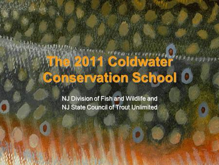 The 2011 Coldwater Conservation School NJ Division of Fish and Wildlife and NJ State Council of Trout Unlimited.