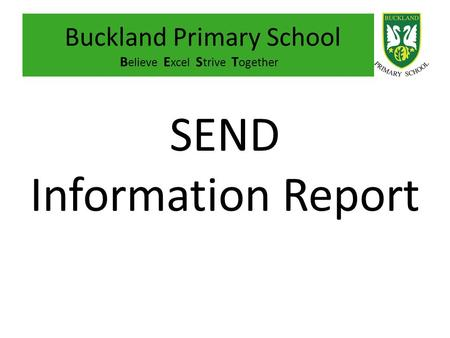 Buckland Primary School Believe Excel Strive Together