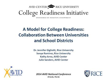 2014 AVID National Conference Orlando, Florida A Model for College Readiness: Collaboration Between Universities and School Districts Dr. Jennifer Gigliotti,