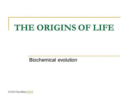 Biochemical evolution
