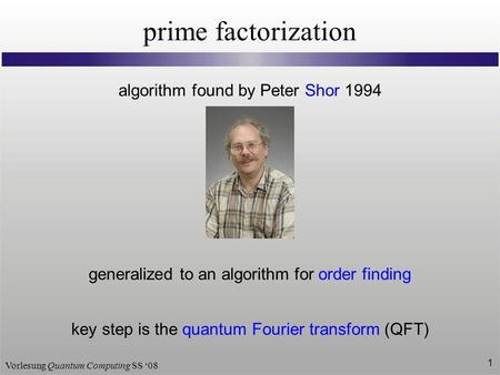 prime factorization algorithm found by Peter Shor 1994