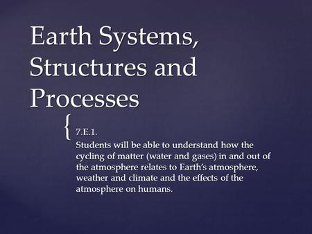{ Earth Systems, Structures and Processes 7.E.1. Students will be able to understand how the cycling of matter (water and gases) in and out of the atmosphere.