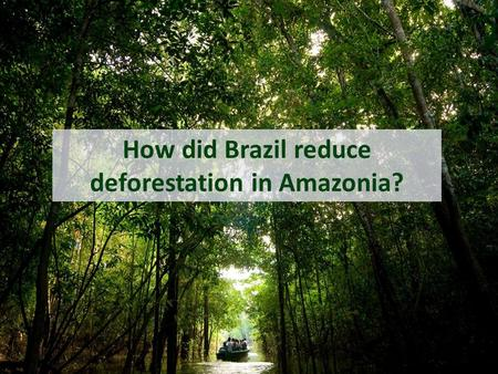 How did Brazil reduce deforestation in Amazonia?.