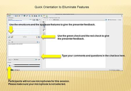 Quick Orientation to Elluminate Features Use the green check and the red check to give the presenter feedback. Type your comments and questions in the.