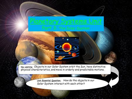Planetary Systems Unit Part 3: The Solar System Key Learning: Objects in our Solar System orbit the Sun, have distinctive physical characteristics, and.