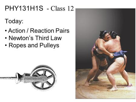 PHY131H1S - Class 12 Today: Action / Reaction Pairs Newton's Third Law Ropes and Pulleys.