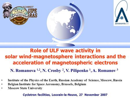 Cyclotron facilities, Louvain-la-Neuve, 27 November 2007 Role of ULF wave activity in solar wind-magnetosphere interactions and the acceleration of magnetospheric.