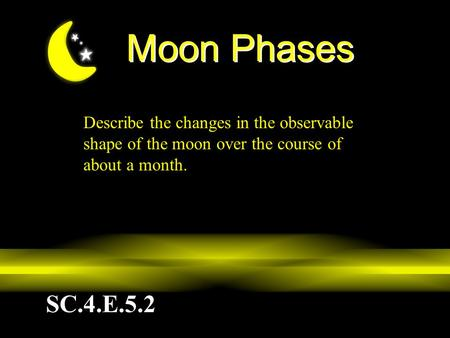 Moon Phases Describe the changes in the observable shape of the moon over the course of about a month. Today, we are going to take a closer look at the.