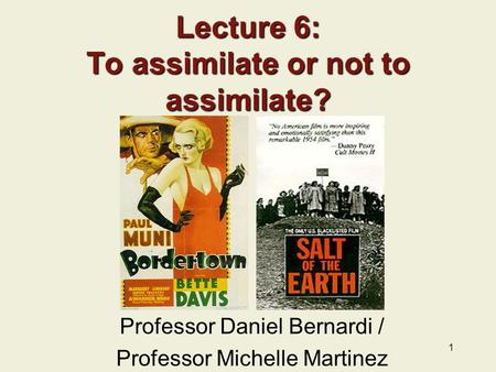 Lecture 6: To assimilate or not to assimilate?
