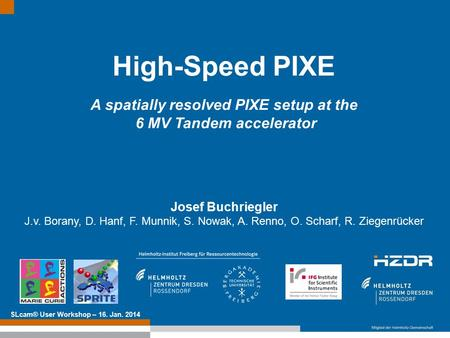 Text optional: Institutsname Prof. Dr. Hans Mustermann www.fzd.de Mitglied der Leibniz-Gemeinschaft High-Speed PIXE A spatially resolved PIXE setup at.