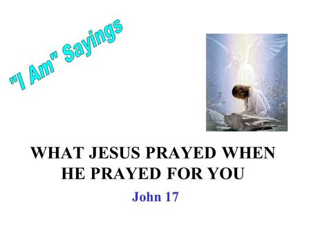 WHAT JESUS PRAYED WHEN HE PRAYED FOR YOU John 17.