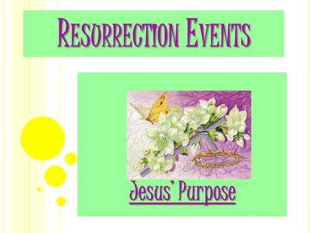 R ESURRECTION E VENTS Jesus' Purpose T ODAY ' S B IBLE V ERSE T ODAY ' S B IBLE V ERSE He is not here; he has risen, just as he said. Come and see the.