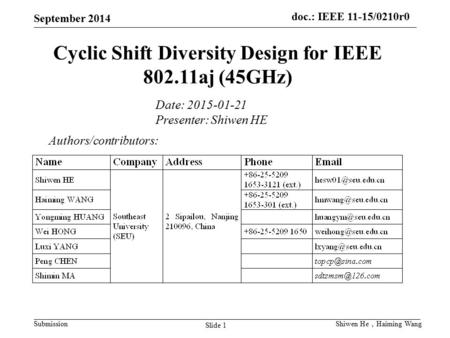 Doc.: IEEE 11-15/0210r0 Submission September 2014 Slide 1 Shiwen He , Haiming Wang Cyclic Shift Diversity Design for IEEE 802.11aj (45GHz) Authors/contributors:
