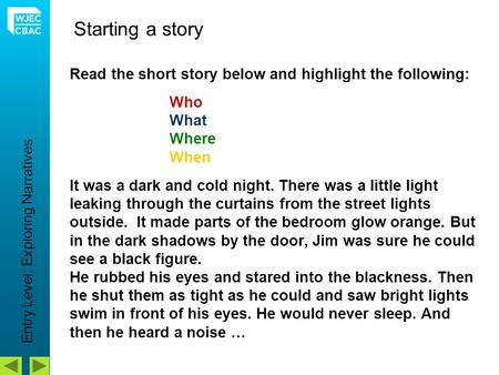 Read the short story below and highlight the following: Who What Where When It was a dark and cold night. There was a little light leaking through the.
