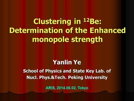 Clustering in 12 Be: Determination of the Enhanced monopole strength Yanlin Ye School of Physics and State Key Lab. of Nucl. Phys.&Tech. Peking University.