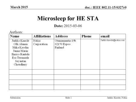 Submission doc.: IEEE 802.11-15/0327r0 March 2015 Jarkko Kneckt, NokiaSlide 1 Microsleep for HE STA Date: 2015-03-06 Authors:
