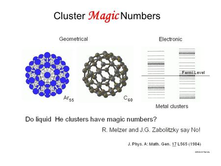 Cluster Magic Numbers. Recent highly accurate diffusion Monte Carlo (T=0) calculation rules out existence of magic numbers due to stabilities: R. Guardiola,O.