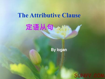 "The Attributive Clause 定语从句 By logan. Who: She looked at Jeff who was waving his arms. That: The story that you read is ""The Rescue"". She looked at Jeff."
