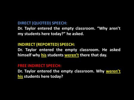 "DIRECT (QUOTED) SPEECH: Dr. Taylor entered the empty classroom. ""Why aren't my students here today?"" he asked. INDIRECT (REPORTED) SPEECH: Dr. Taylor entered."