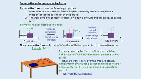 Conservative and non-conservative Forces Conservative forces – have the following properties: 1.Work done by a conservative force on a particle moving.