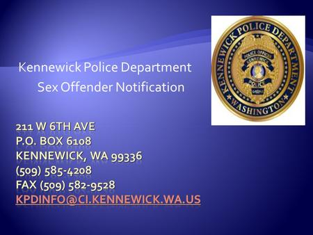 Kennewick Police Department Sex Offender Notification.