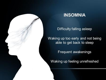 INSOMNIA Difficulty falling asleep Waking up too early and not being able to get back to sleep Frequent awakenings Waking up feeling unrefreshed.