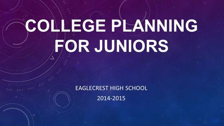 COLLEGE PLANNING FOR JUNIORS EAGLECREST HIGH SCHOOL 2014-2015.