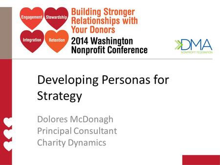 Developing Personas for Strategy Dolores McDonagh Principal Consultant Charity Dynamics.