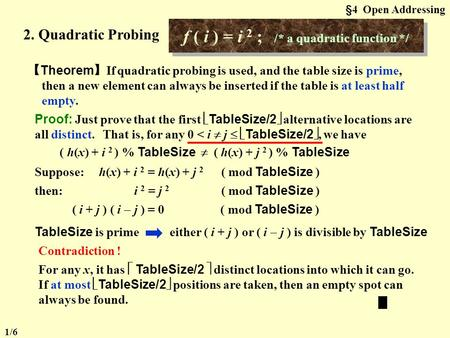 §4 Open Addressing 2. Quadratic Probing f ( i ) = i 2 ; /* a quadratic function */ 【 Theorem 】 If quadratic probing is used, and the table size is prime,