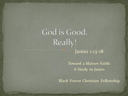 James 1:13-18 Toward a Mature Faith: A Study in James Black Forest Christian Fellowship.