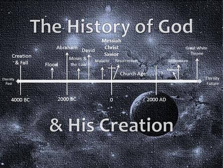 Eternity Past Creation & Fall Eternity Future Flood Abraham 2000 BC 4000 BC 0 2000 AD Moses & the Law David Malachi MessiahChristSavior Church Age.....