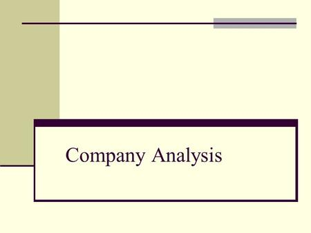 Company Analysis.